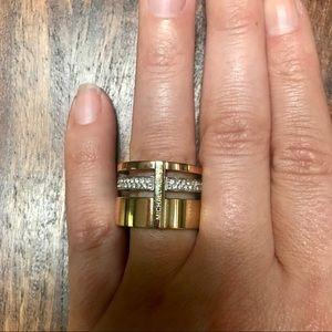 Michael Kors Brilliance Pave Tri Tone Barrel Ring